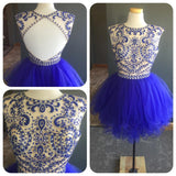 XH75 See-through Beaded Bodice Royal Blue Tulle Skirt Backless Homecoming Dresses