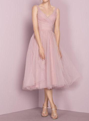 XH77 Deep Blush Tulle Prom Dress,Tea Length V-neckline Evening Dress