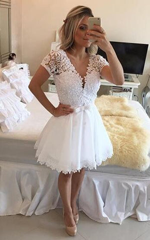 XH79 Short sleeve homecoming dress, see through homecoming dress, tulle prom dress