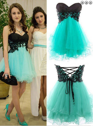 XH82 Mint Green Homecoming Dress,Tulle Lace Short Prom Dress,Sexy Party Gown