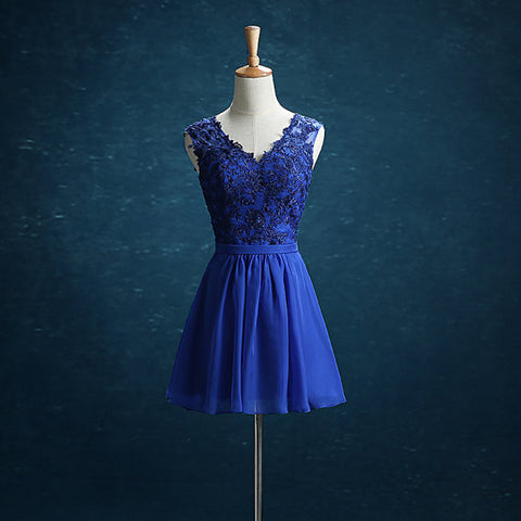 XH83 Short Royal Blue Chiffon Homecoming Dresses,V-neck Appliques Party Dress