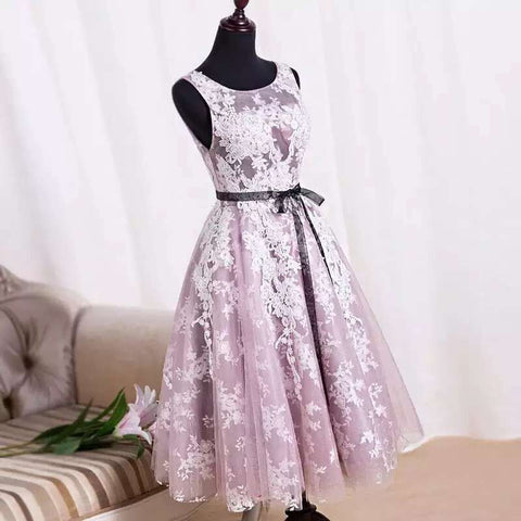 XH8 Charming Handmade Tea Length Tulle Purple Prom Dresses with Lace Applique