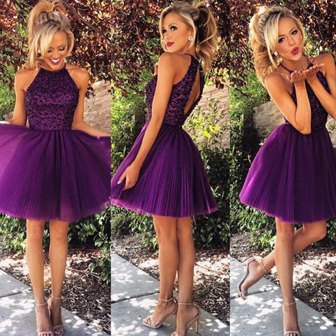 XH9 Cute Purple Tulle A-Line Short Beading Prom Dresses,Shoty purple homecoming dress