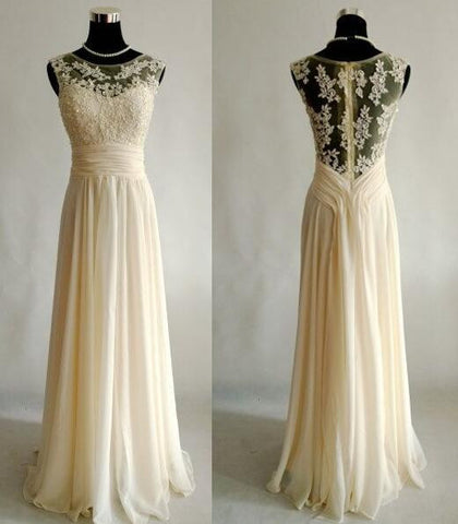 XP100 Top lace appliques long chiffon light champagne lace prom dress