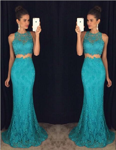 XP102 Two piece sexy blue lace prom dress,lace mermaid prom dres