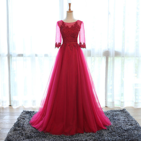 XP107 Elegant Wine Colored Evening Dress With Half Sleeves,Appliqued Tulle Prom Dress