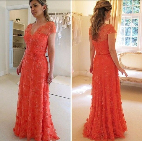 XP108 elegant fashion red evening dresses,v neck short sleeves applqies lace prom dress