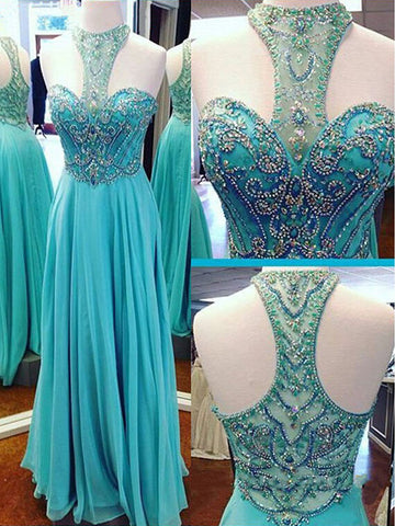 XP109 Charming Heavy Beading Prom Dress,Blue Chiffon Prom Dress,Beading Prom Dress