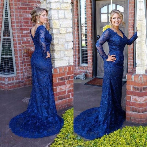 XP111 Charming Prom Dress,Lace Prom Dress,Long-Sleeves Prom Dress,Mermaid Evening Dress