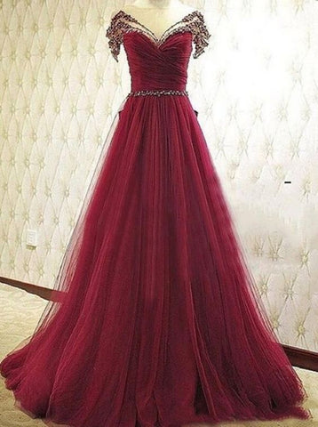 XP112 Charming Off the Shoulder Beading Burgundy Prom Dress,Tulle Prom Dress