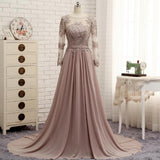 XP113 Long Sleeves Beaded Lace Evening Dresses Party Elegant Gowns Champagne Chiffon A Line