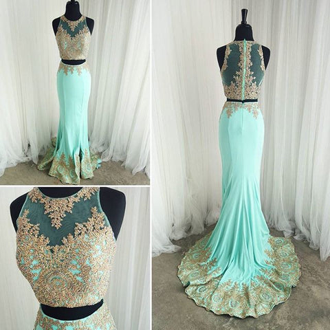 XP115 Two Piece Mermaid Gold Lace Mint Prom Dresses,Gold Lace Appliques Mermaid Formal Evening Gowns