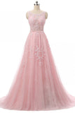XP119 Pink tulle round neck applique A-line long evening dresses ,open back long prom dress