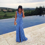 XP122 Prom Dress,Custom Made Blue Lace Prom Dress,Beading Evening Dress
