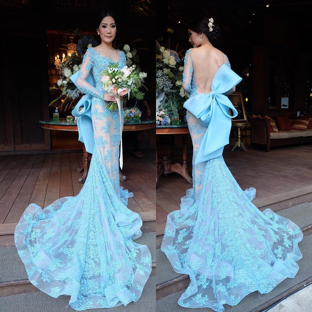 87154df6bf0bd XP124 Blue Long Sleeve Lace Mermaid Prom Dresses,Party Dresses ...