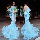 XP124 Blue Long Sleeve Lace Mermaid Prom Dresses,Party Dresses