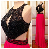 XP129 Sleeveless Prom Dresses,Gergeous Beaded Prom Dress,Chiffon Floor Length Evening Dress