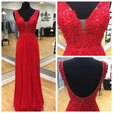XP130 Red Plunging V Neck V BackChiffon Formal Gown , Prom Dress With Lace Appliques Bodice