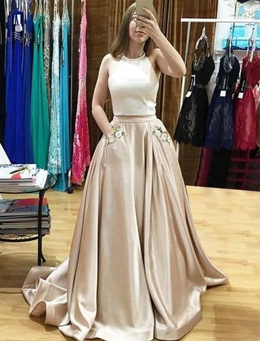 XP131 2017 Champagne Two Piece Prom Dress,Halter Satin Formal Gown With Two Pockets
