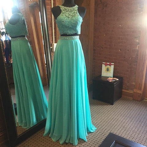 XP132 Mint Green Two Piece Lace Prom Dress, Keyhole Back Formal Gown With Lace Appliques Crop Top