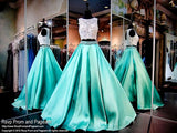 XP136 Two Pieces Lace Satin Prom Dress,Halter Beading Evening Dress