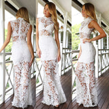 XP139 Short-Sleeved White Lace Dress Sexy Dress,white full lace prom dress