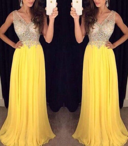 XP13 Sexy V Neck Formal Yellow Chiffon Beading Prom Dress,Yellow beading evening dress