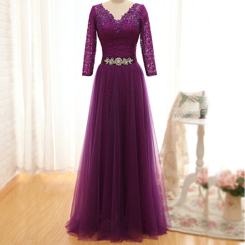 XP140 Elegant V Neck Bodice Lace Sleeves Belt with Crystal Tulle Prom Dress