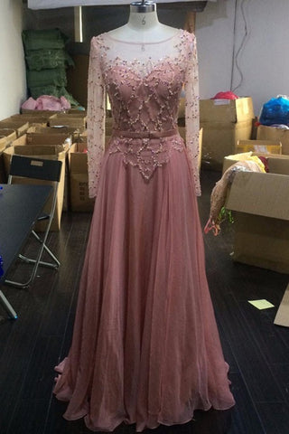 XP141 Peach chiffon see-through long sleeves A-line round neck sequins simple long prom dresses