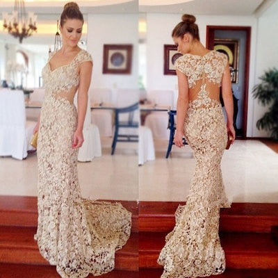 XP142 Lace prom dress,mermaid prom dress,elegant prom dress