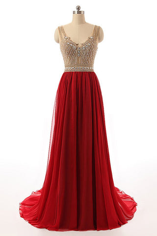 XP143 Red tulle round neck beading rhinestone see-through A-line princess long prom dress for teens