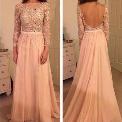 XP145 O-Neck Beading Chiffon Prom Dresses,Formal Long Prom Dresses with sleeves