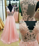 XP148 V-neck Pink Tulle Prom Dresses Lace Appliques Women Party Dresses