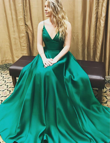 XP150 V-neck Satin Prom Dresses, Long Satin Prom Dresses, Green Women Party Dresses 2017