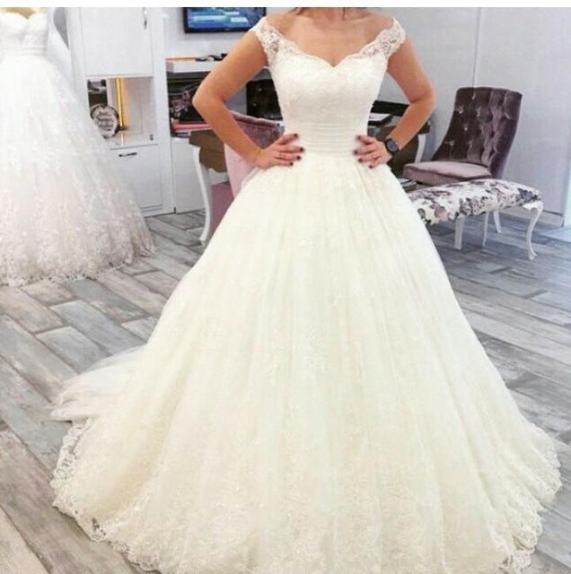 Off The Shoulder Ball Gown Lace Elegant Wedding Dresses Tulle Bridal Dress With Lace