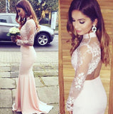 XP159 Lace Long Sleeve Prom Dress,High Neck Mermaid Prom Dresses