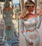 XP15 Boat Neck Two Pieces Long Sleeve Lace Mermaid Prom Dress 2017
