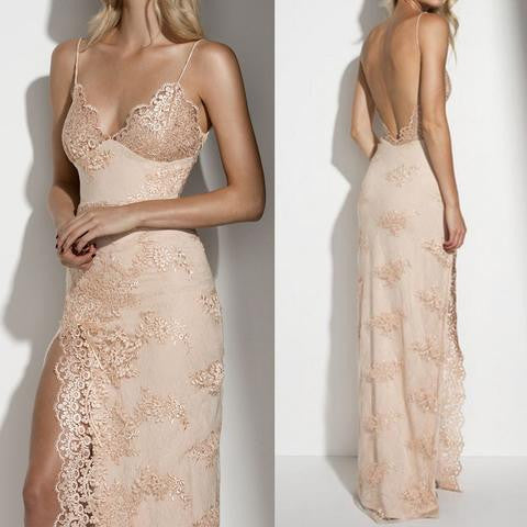 Champagne Lace Prom Dress