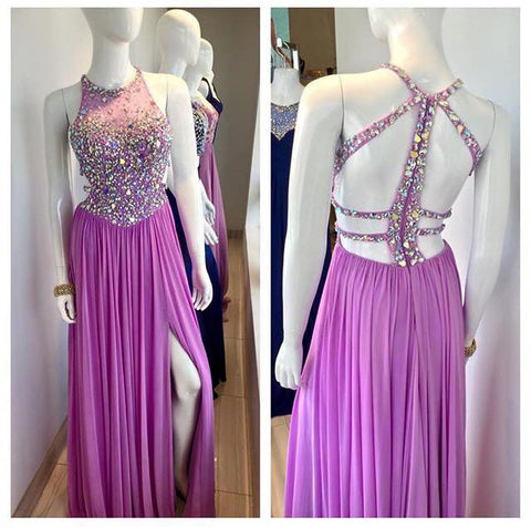 XP172 O Neck Unique Design Back Heavy Beaded Sexy Long Chiffon Crystal Purple Evening Dresses