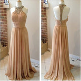 XP173 champagne prom dresses,,Beaded prom dresses,O Neck evening dresses