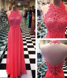 XP175 Red prom dress,Backless lace prom dress,Sexy High Neck prom dress