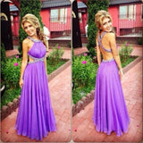 XP176 Purple Prom Dress, Backless Prom Dress,Backless Sexy Crystal Party Dresses