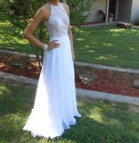 XP181 Charming O Neck Backless Off the Shoulder Pearls Crystal White Prom Dresses