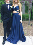 XP183 Two Piece Navy Blue Long Prom Dress,A Line Long Satin Prom Dress
