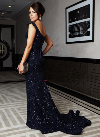 XP185 Sexy Sparkly Sequined Lace Mermaid Navy Blue Long Prom Dresses