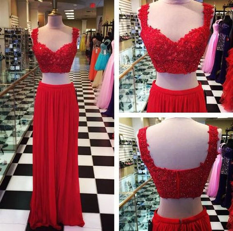 XP186 Red prom dress,Two Pieces Prom Dress,chiffion lace prom dress