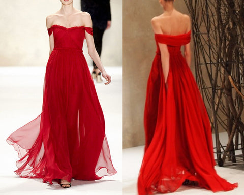 XP190 Red Prom Dresses,Off Shoulder Evening Dresses,Formal DressesChiffon Prom Gowns