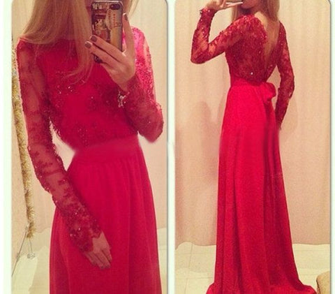 XP195 Red Prom Dress,Long Sleeve Prom Dress, A Line Red Lace Formal Prom Dress