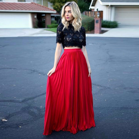 XP199 Sexy short sleeve two piece black and red lace prom dress