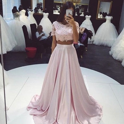 XP200 Short sleeve a line long pink two piece lace prom dress